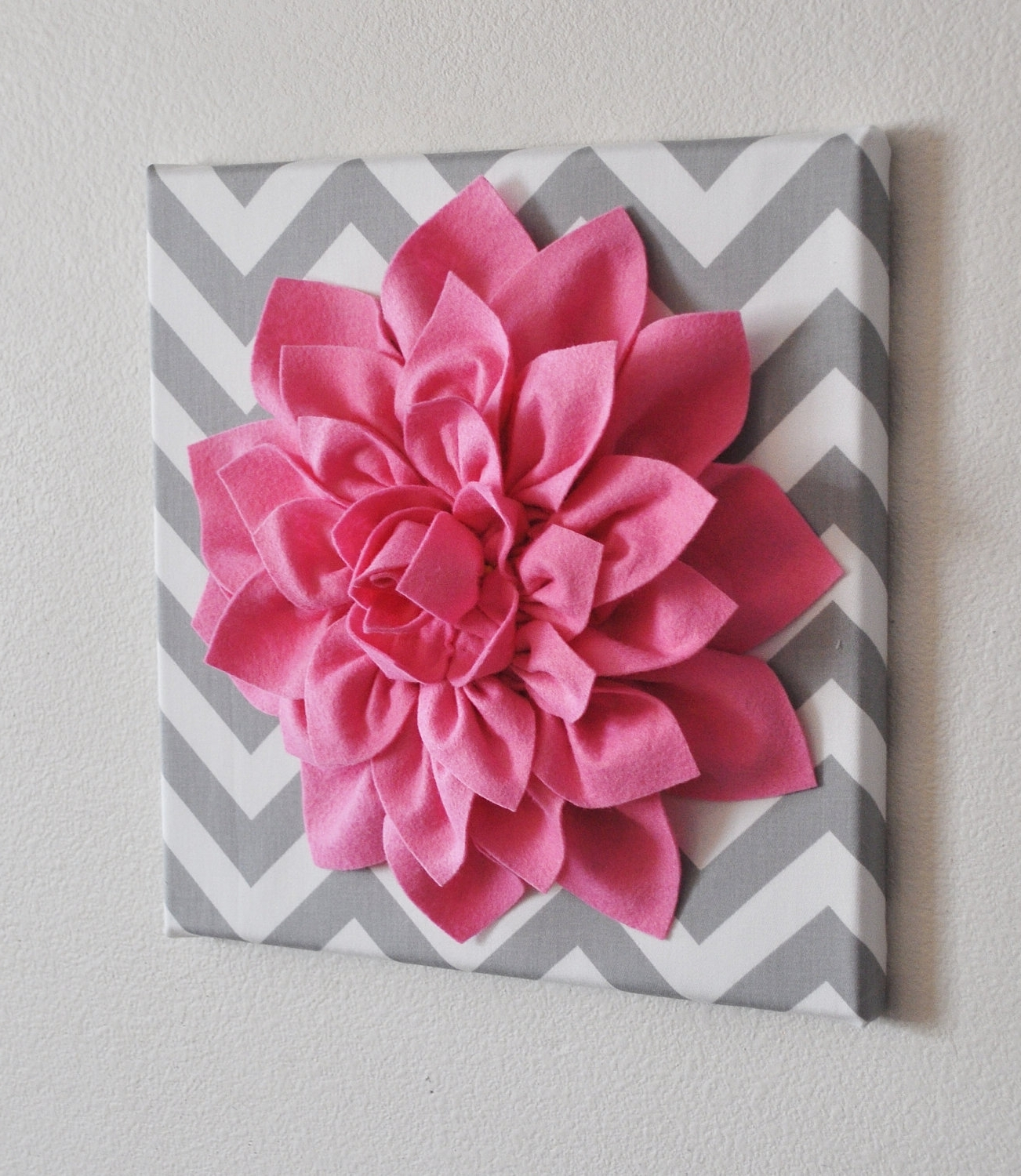 Current Fabric Flower Wall Art Throughout Bright Pink Wall Flower Bright Pink Dahlia On Gray And White (View 13 of 15)