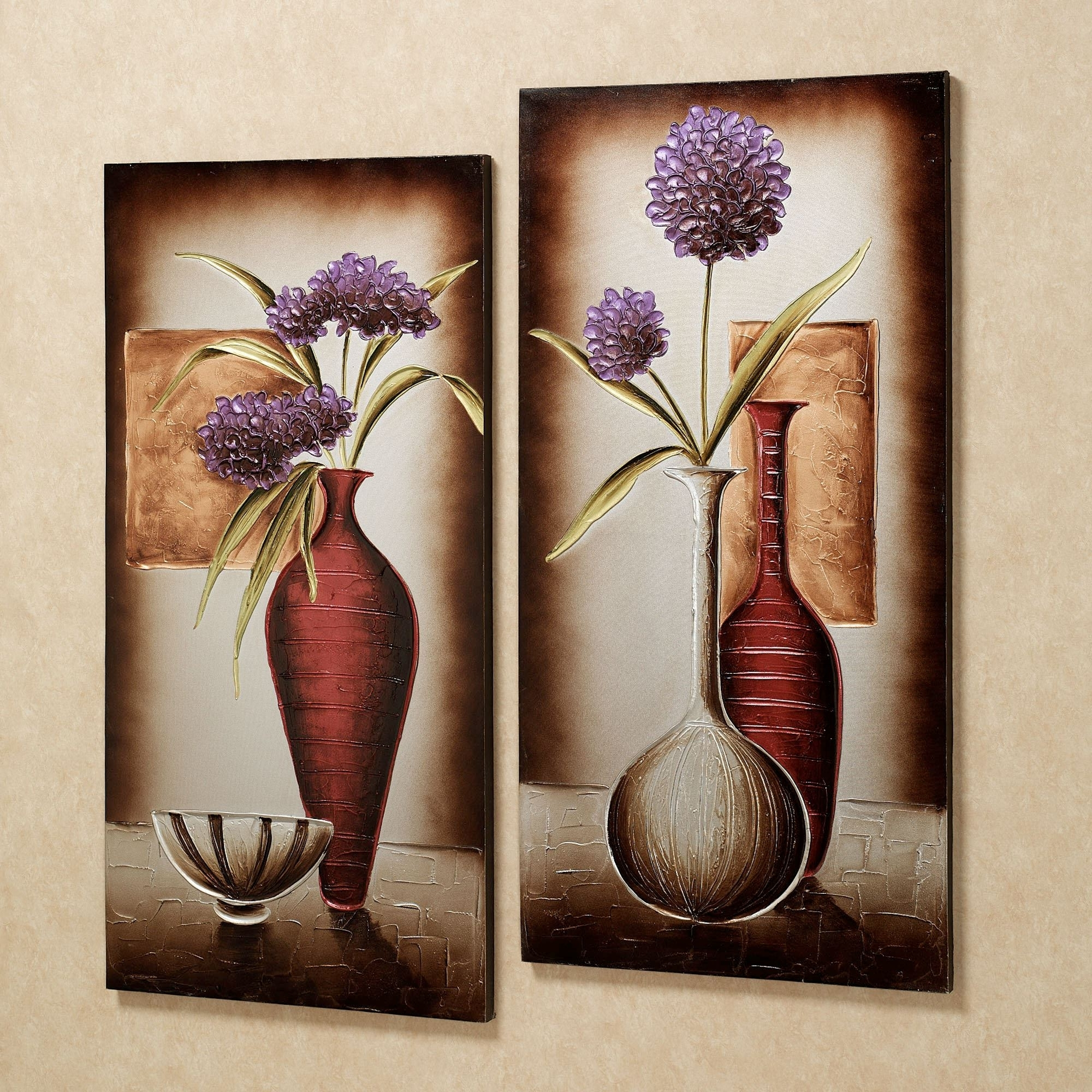 Current Floral Tranquility Canvas Wall Art Set In Canvas Wall Art Of Flowers (View 6 of 15)