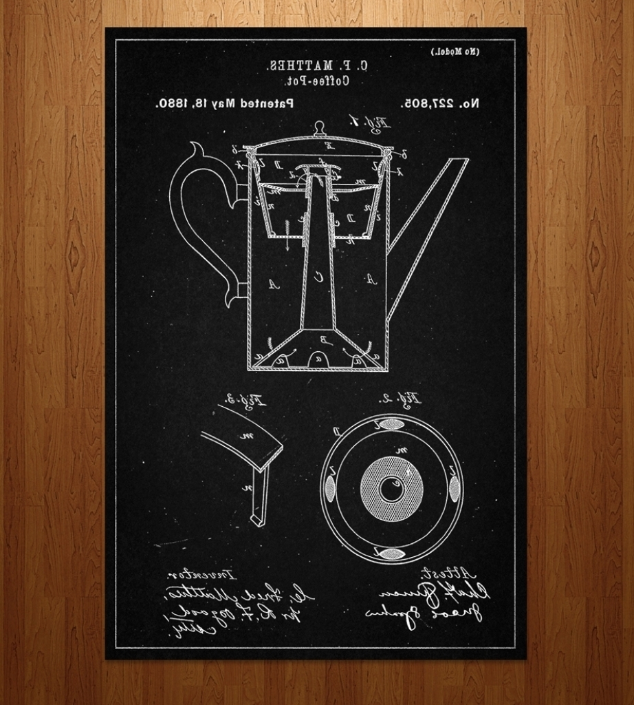 Current Framed Coffee Art Prints Within Coffee Pot Patent Art Print Features Coffee Tea Patent Intended (View 4 of 15)