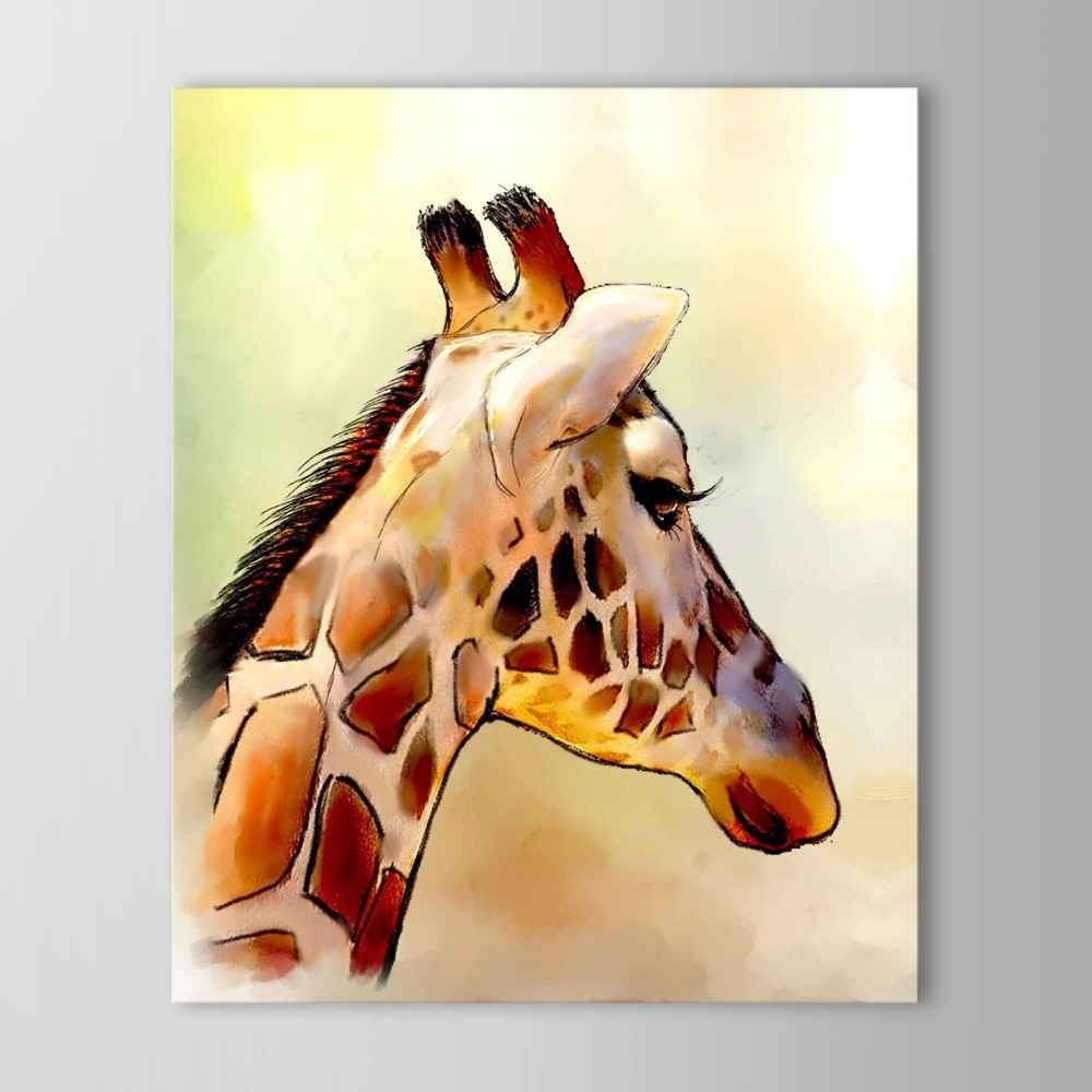 Current Iarts Modern Wall Art Print + Hand Painted Beautiful Giraffe Inside Giraffe Canvas Wall Art (Gallery 2 of 15)
