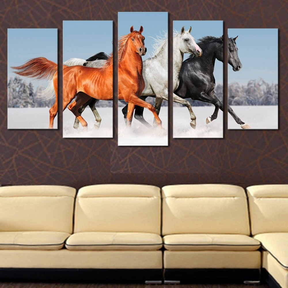 Current Jump Canvas Wall Art With Original Oil Ink Canvas Print Jumping Horse Painting On Canvas (View 7 of 15)