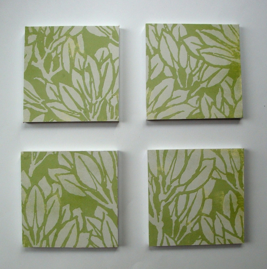 Current Leaves Canvas Wall Art Within Remarkable Leaf On Green Background On Square Frame Under White (View 1 of 15)