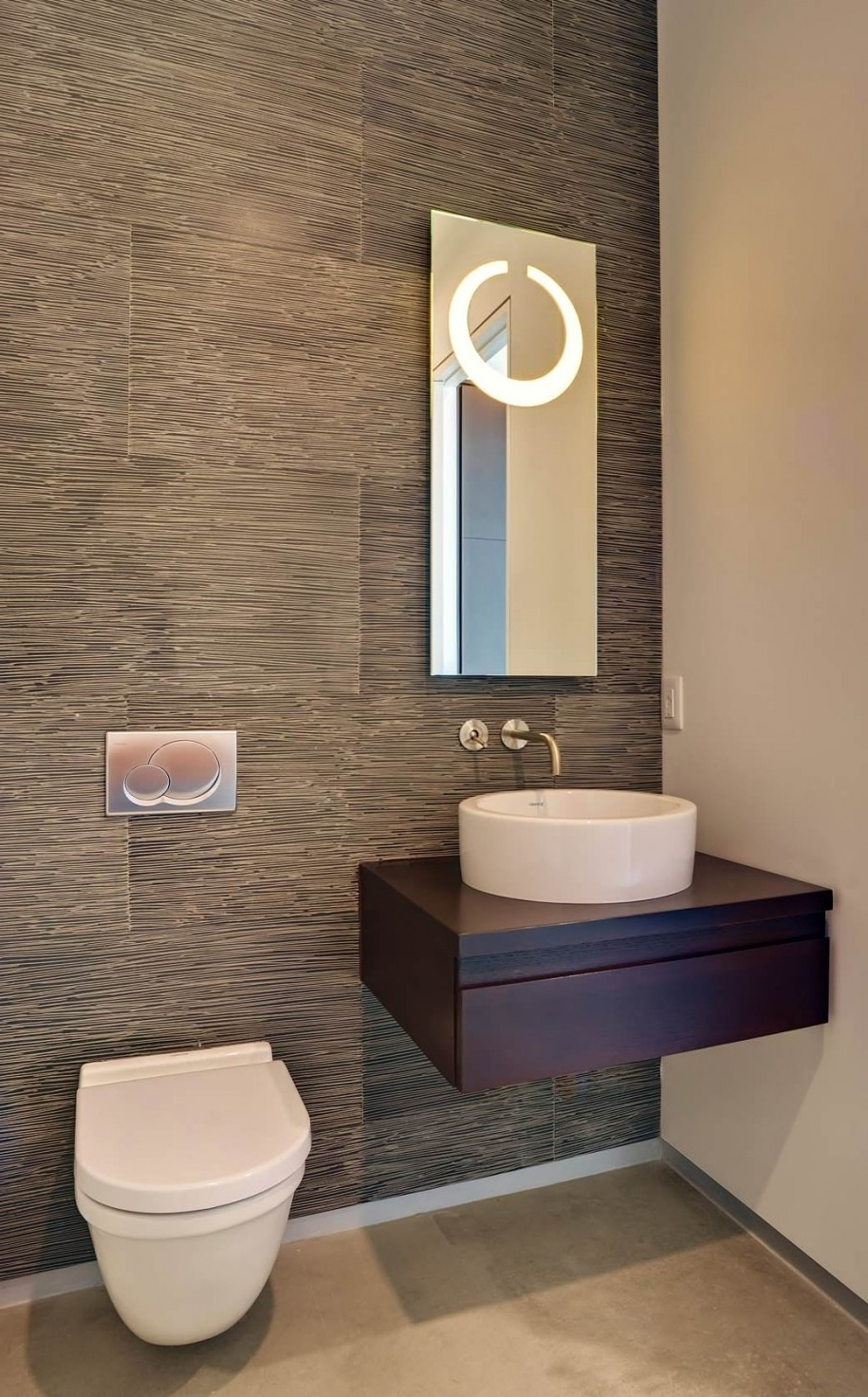Current Modern Small Powder Room Design Featuring Cool Grey Wood Grain Inside Wall Accents Behind Toilet (View 5 of 15)