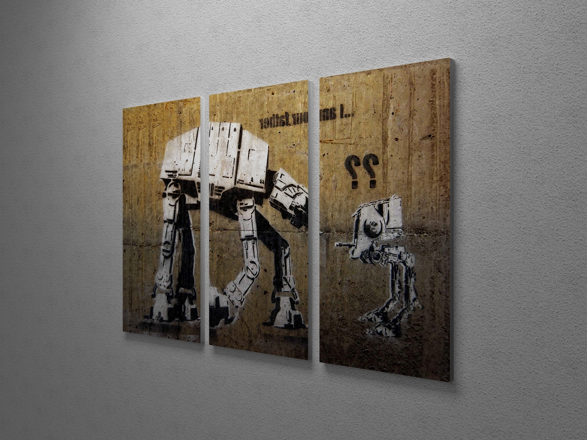 Current Movies Canvas Wall Art In Banksy I Am Your Father (Star Wars) Triptych Canvas Wall Art (View 2 of 15)