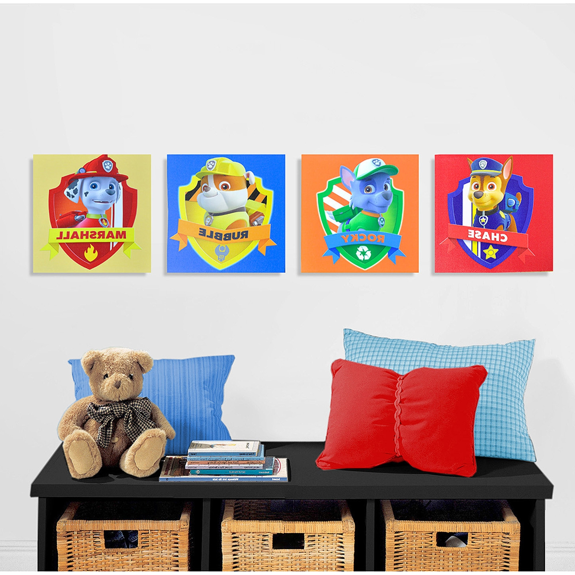 Current Nickelodeon Paw Patrol 4 Piece Canvas Wall Art – Walmart Pertaining To Johannesburg Canvas Wall Art (View 8 of 15)