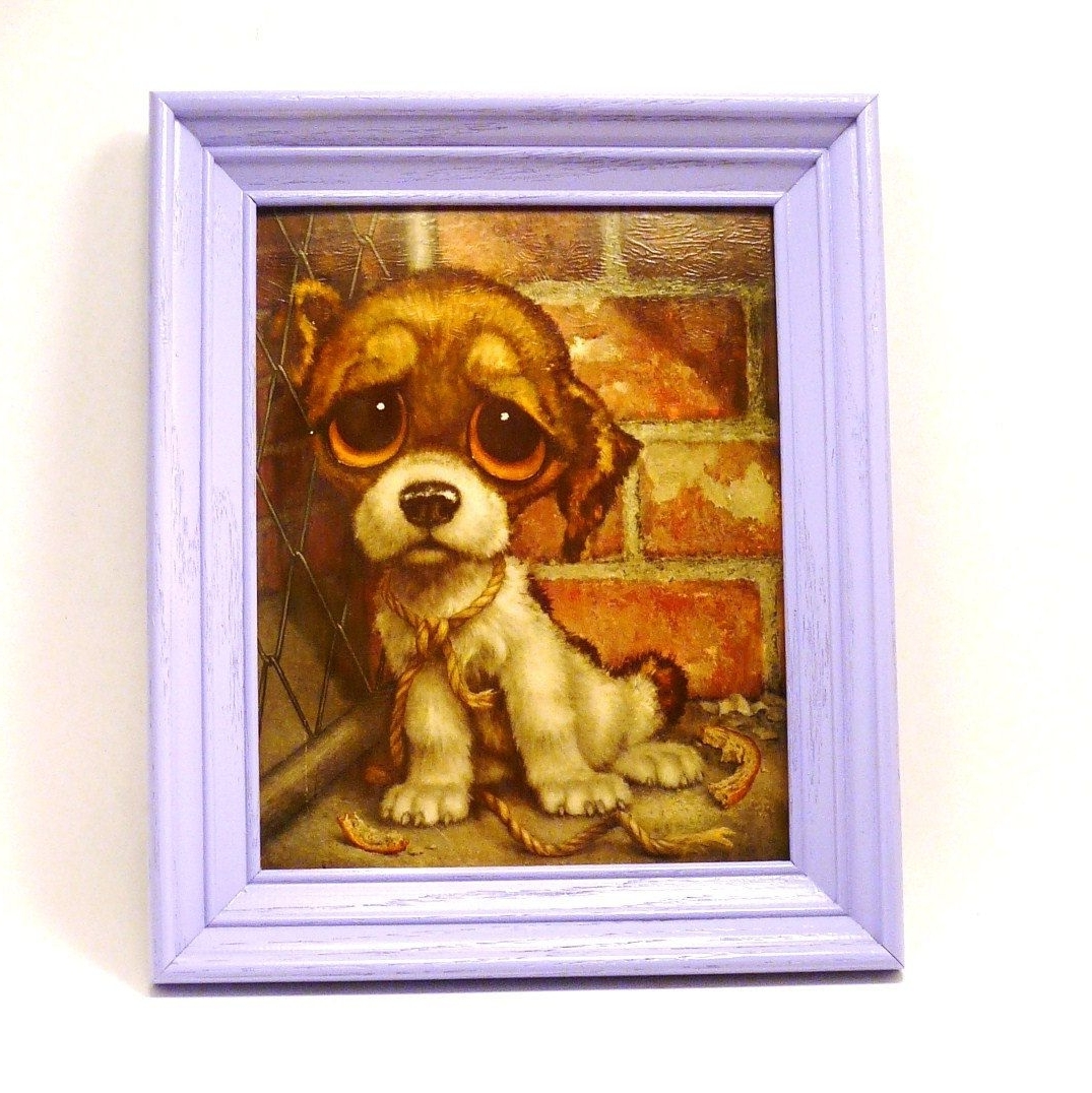 Current Sad Puppy Kitschy Wall Art, Framed Print, Big Eyed, Big Eyes Inside Dog Art Framed Prints (View 3 of 15)