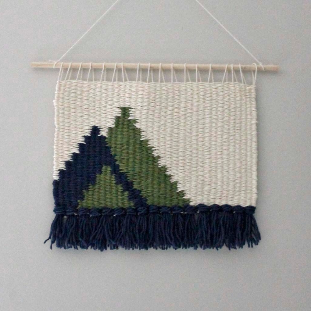 Current Wall Hanging, Modern Weaving, Christmas Winter Decor, Fiber Art With Woven Fabric Wall Art (View 2 of 15)
