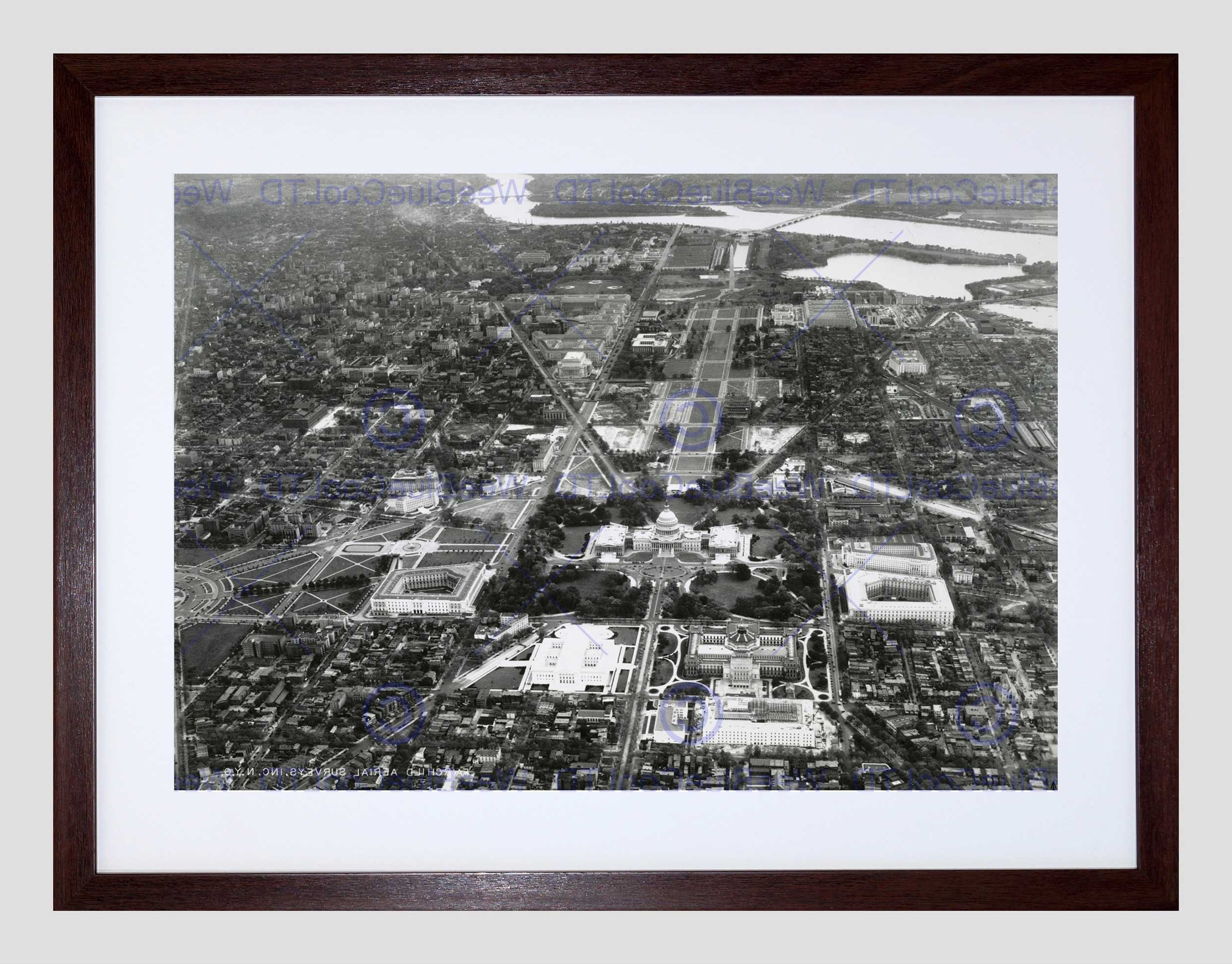 Current Washington Dc Framed Art Prints Throughout Vintage Aerial Capitol Hill Washington Dc America Usa Framed Art (View 4 of 15)