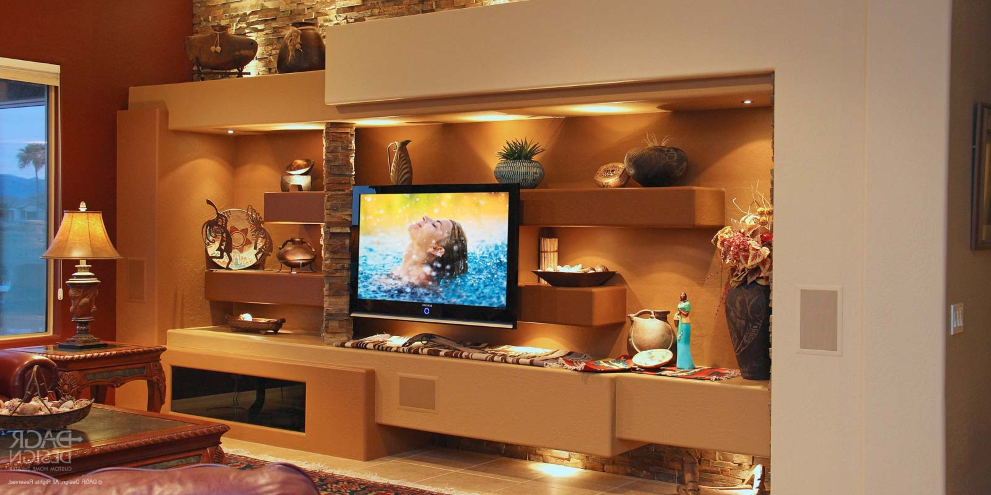 Custom Media Wall & Home Entertainment Center Design • Dagr Design Within Favorite Wall Accents For Media Room (Gallery 12 of 15)
