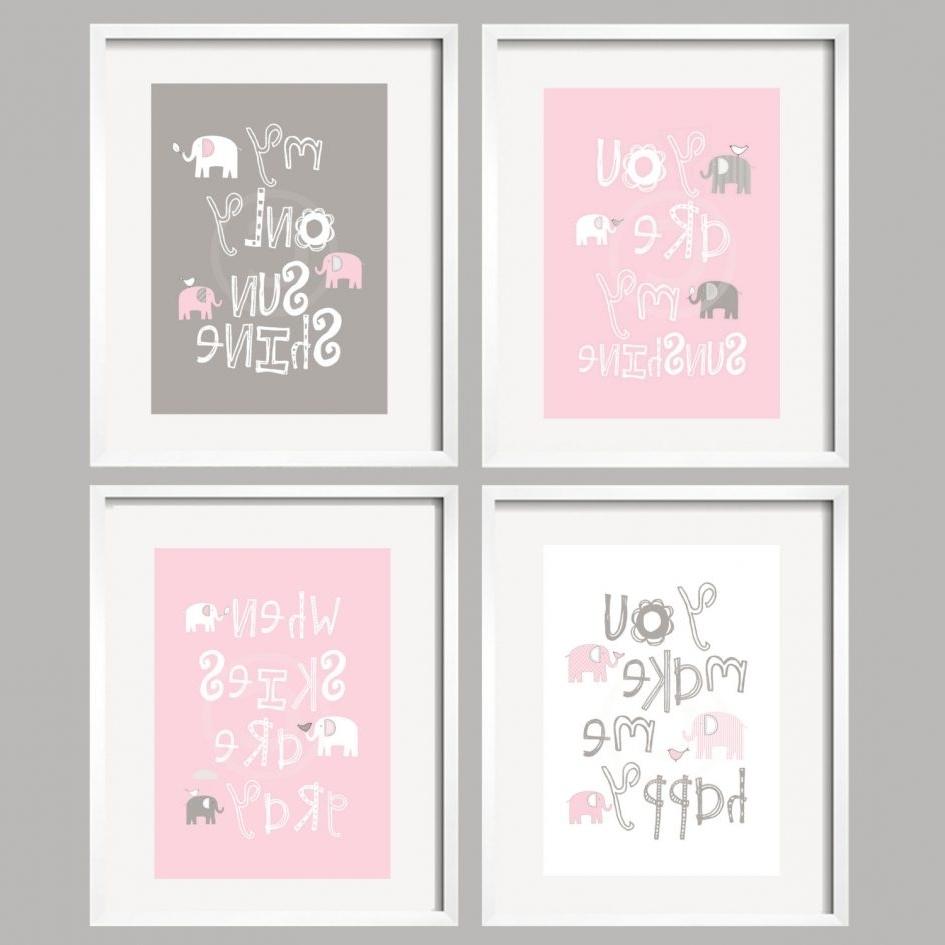 Custom Nursery Canvas Wall Art Intended For Popular Bedroom. Nursery Ideas For Girls Pink And Grey: Custom Nursery (Gallery 1 of 15)