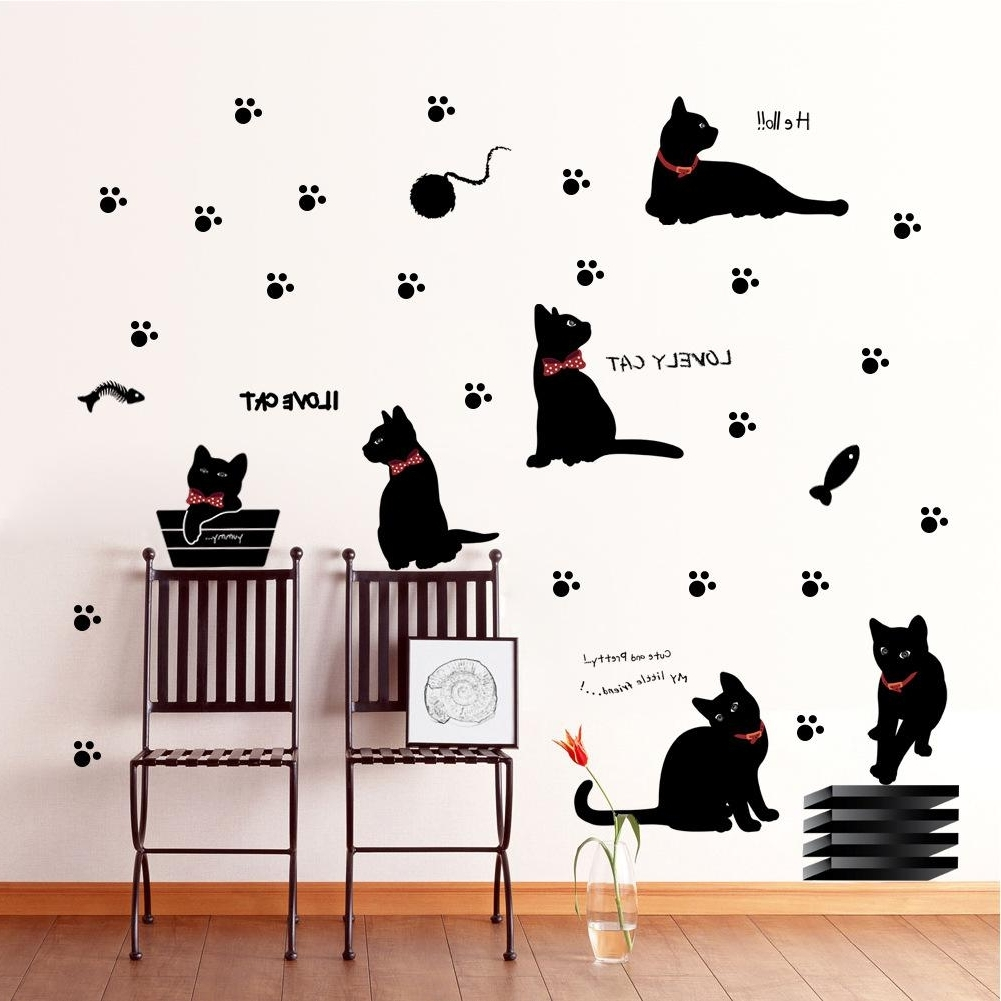 Cute Black Cat Wall Stickers Fashion Background Corridor Bedroom Within Best And Newest Adhesive Art Wall Accents (View 7 of 15)