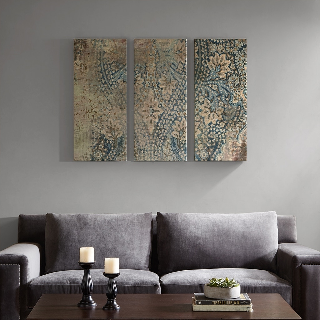 Damask Fabric Wall Art In Most Up To Date Madison Park Weathered Damask Walls Blue Printed Linen 3 Piece Set (Gallery 9 of 15)
