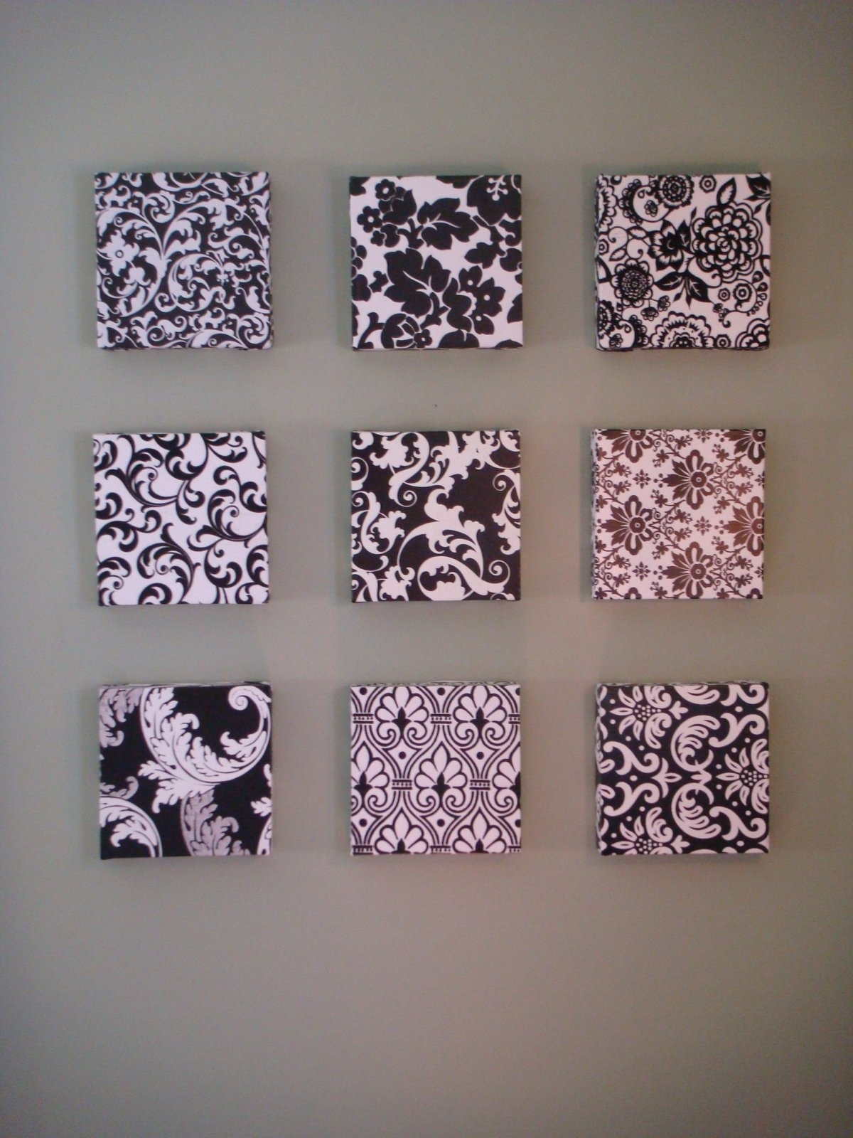 Damask Fabric Wall Art Intended For Latest Decorations : Sweet Minimalist Black White Diy Wall Art Frames (View 6 of 15)