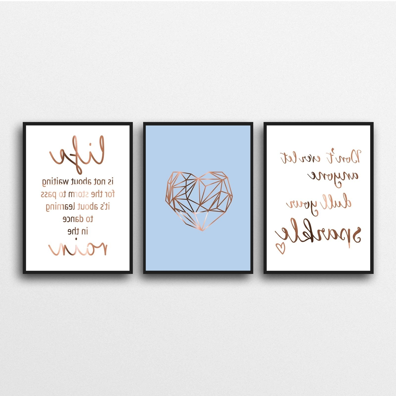 Dance Quotes Canvas Wall Art In Most Recent Inspirational Copper Foil Quote Posters, Set Of 3 Prints (View 5 of 15)