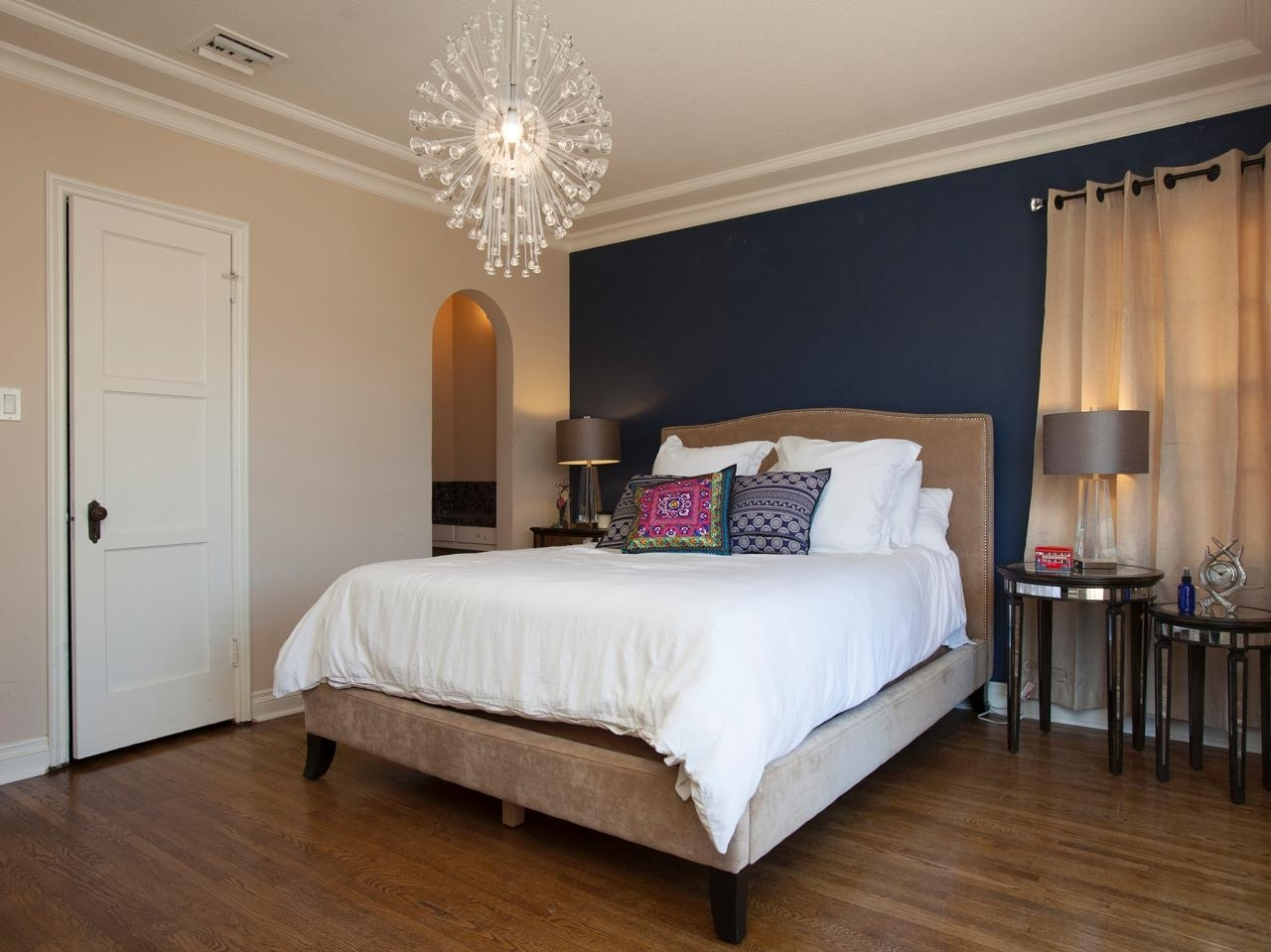 Dark Blue Wall Accent With Burlywood Color Base With Regard To Wall Accents Colors For Bedrooms (View 3 of 15)