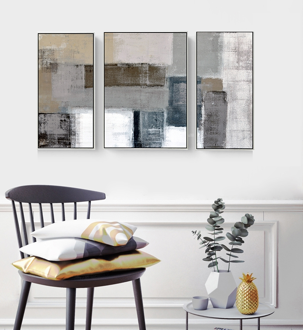 Decorative Canvas Painting 3 Piece Canvas Wall Art Wall Pictures Throughout Well Liked Grey Canvas Wall Art (View 3 of 15)