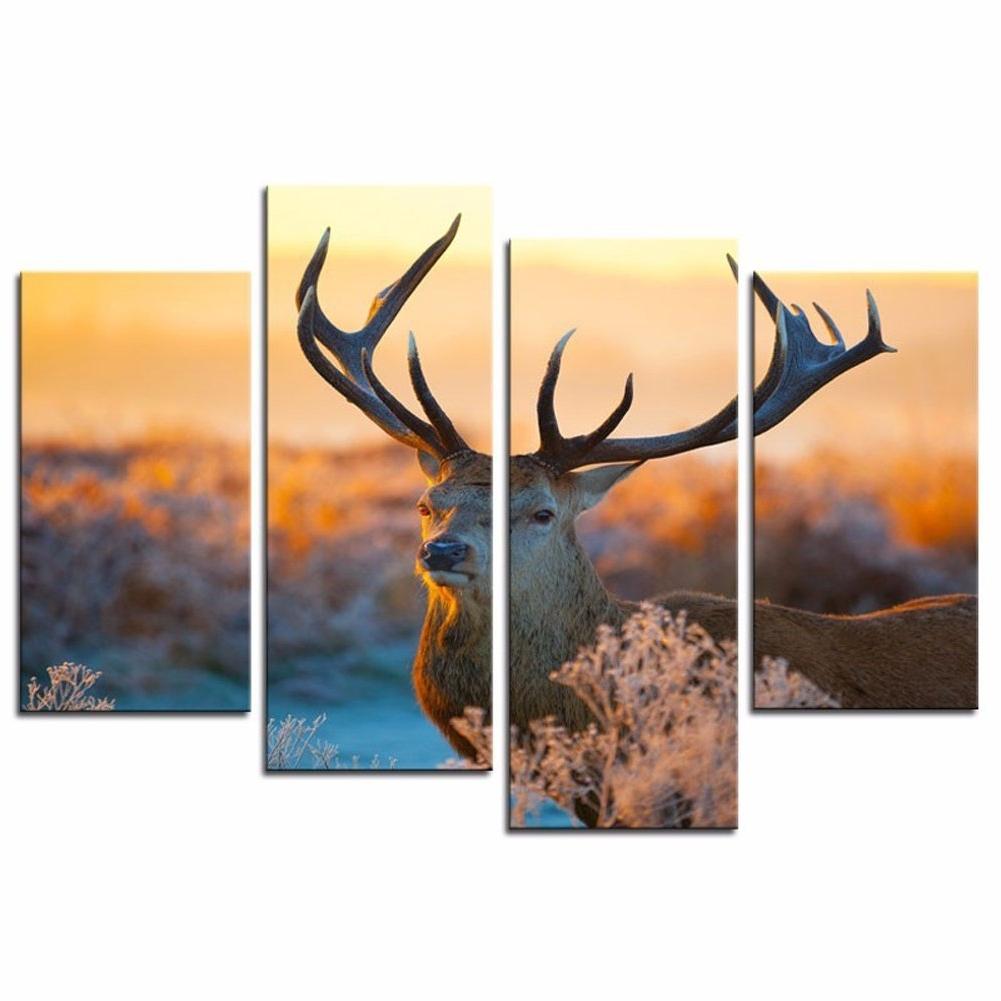 Deer Canvas Wall Art Regarding 2018 Amazon: Amosi Art – 4 Panels Elk Canvas Paintings Deer Wall (View 6 of 15)