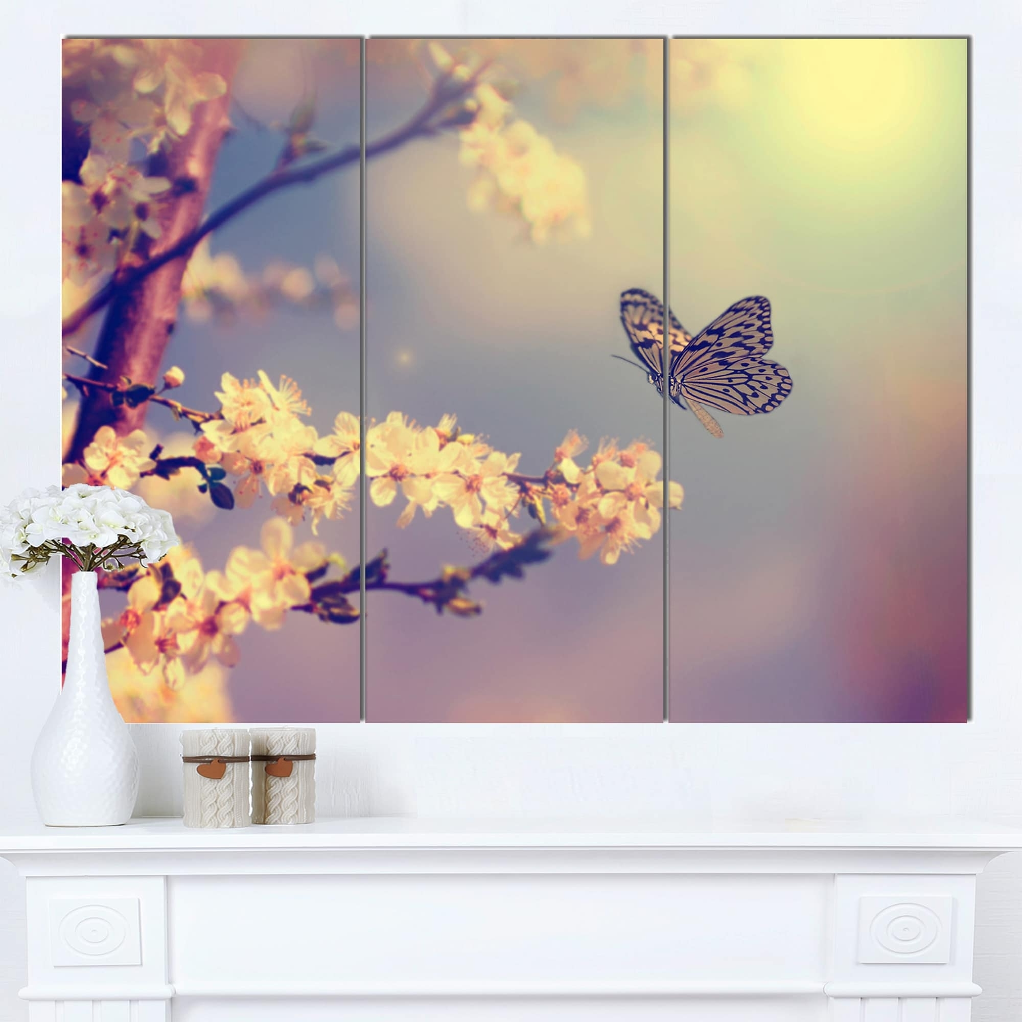 Designart 'vintage Butterfly With Flowers' Modern Flower Canvas Intended For Fashionable Butterflies Canvas Wall Art (View 8 of 15)