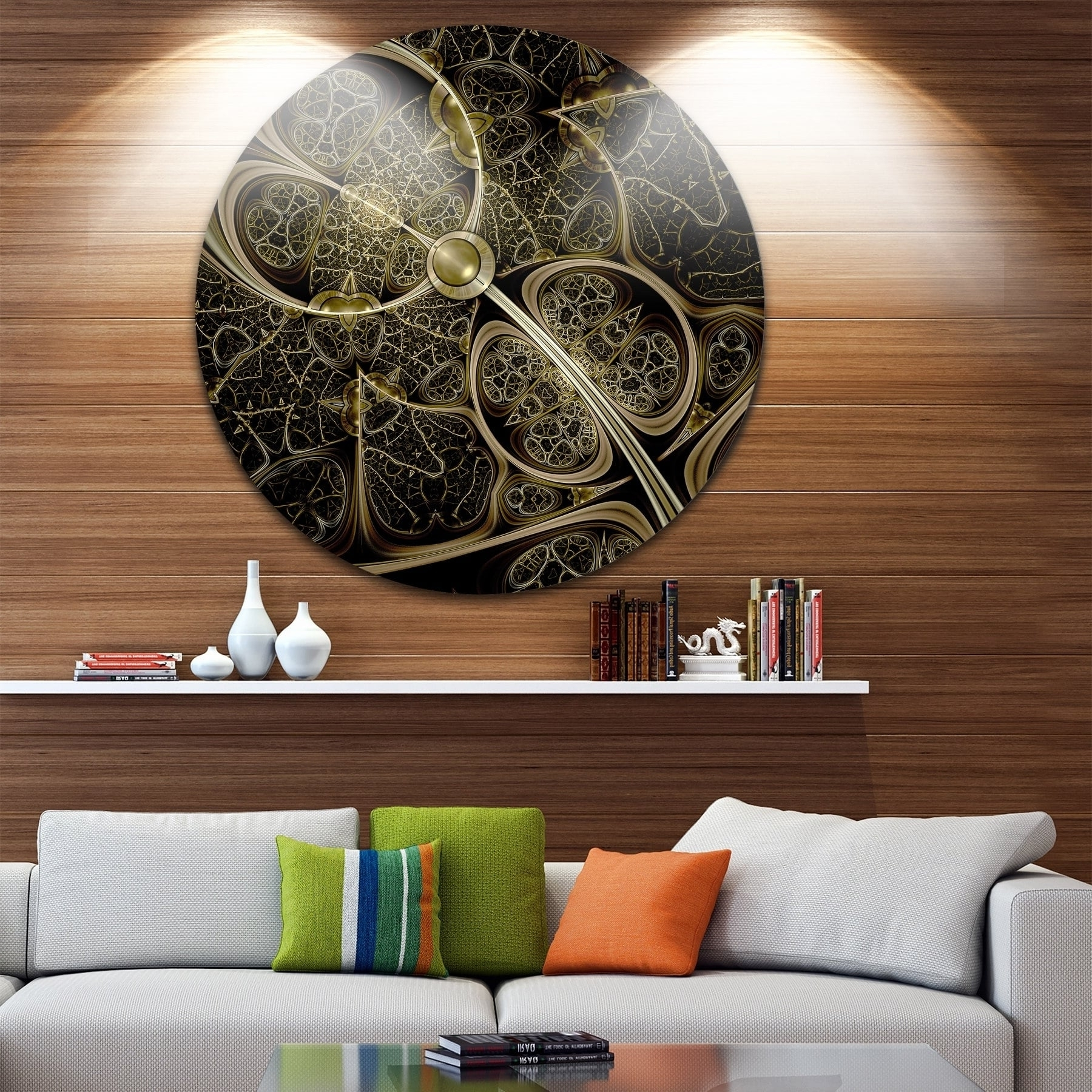 Designart 'yellow Metallic Fabric Pattern' Digital Art Circle Wall Regarding Most Up To Date Fabric Circle Wall Art (View 6 of 15)