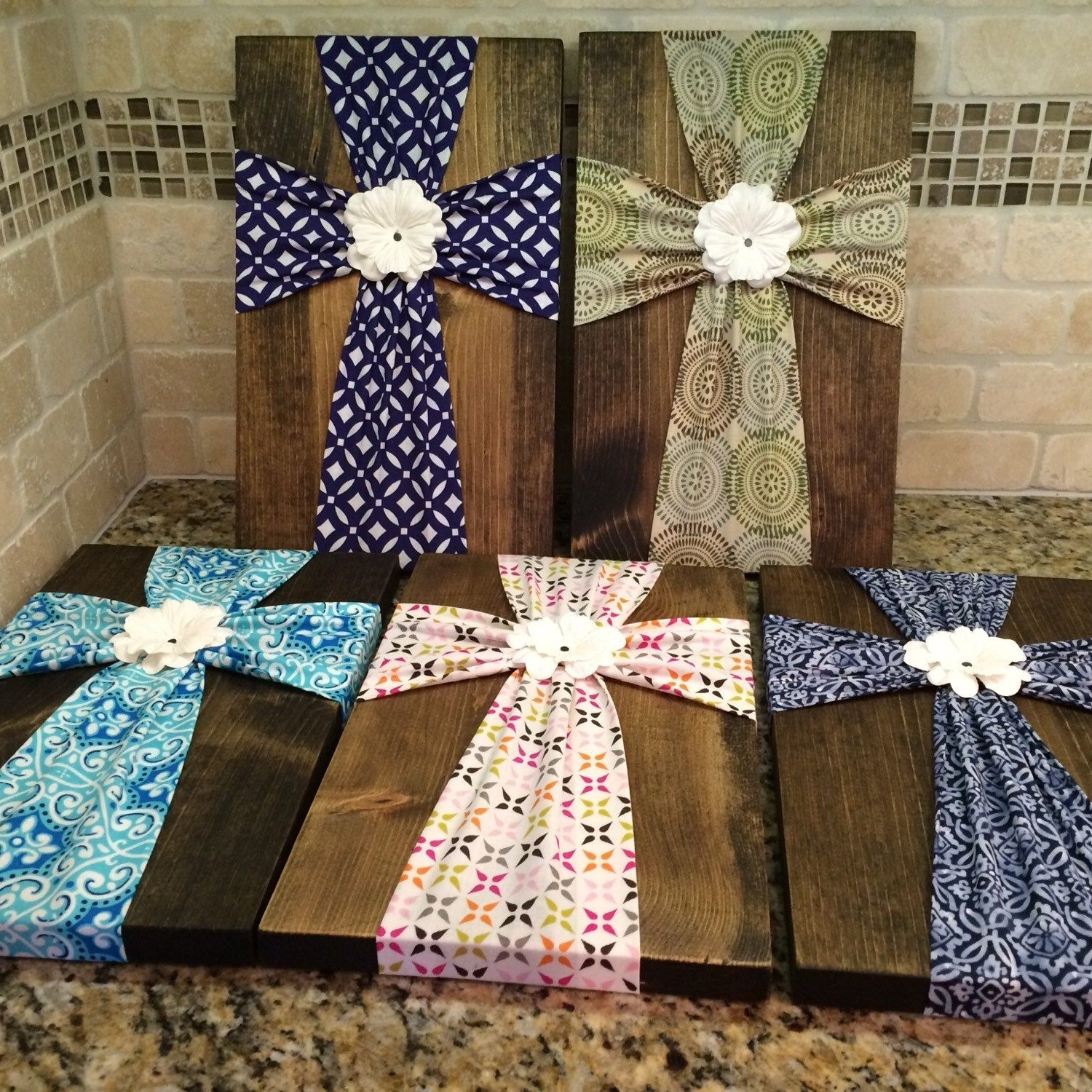 Diy Fabric Cross Wall Art In Newest Wall Art – Fabric Cross On Wood Plaque With Flower Embellishment (View 3 of 15)