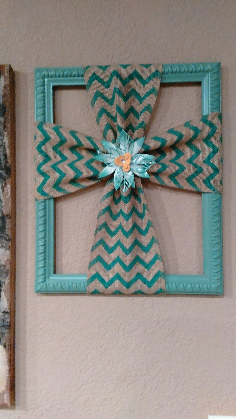 Diy Fabric Cross Wall Art In Preferred Burlap Cross Made With A Repurposed Picture Frame (Gallery 7 of 15)