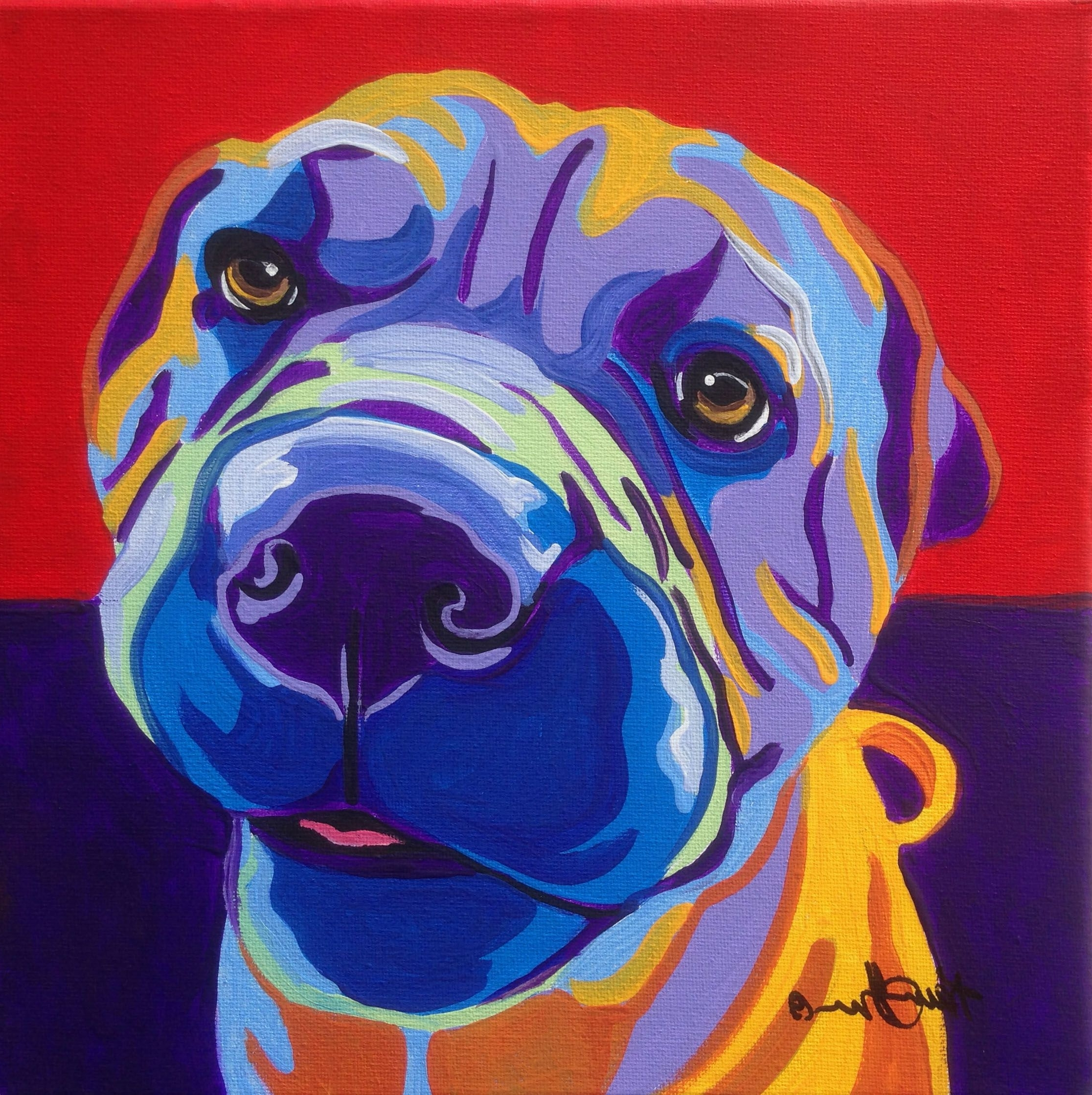 Dog Art Framed Prints Regarding Popular Shar Pei Pop Art Dog Portrait Commission (View 5 of 15)