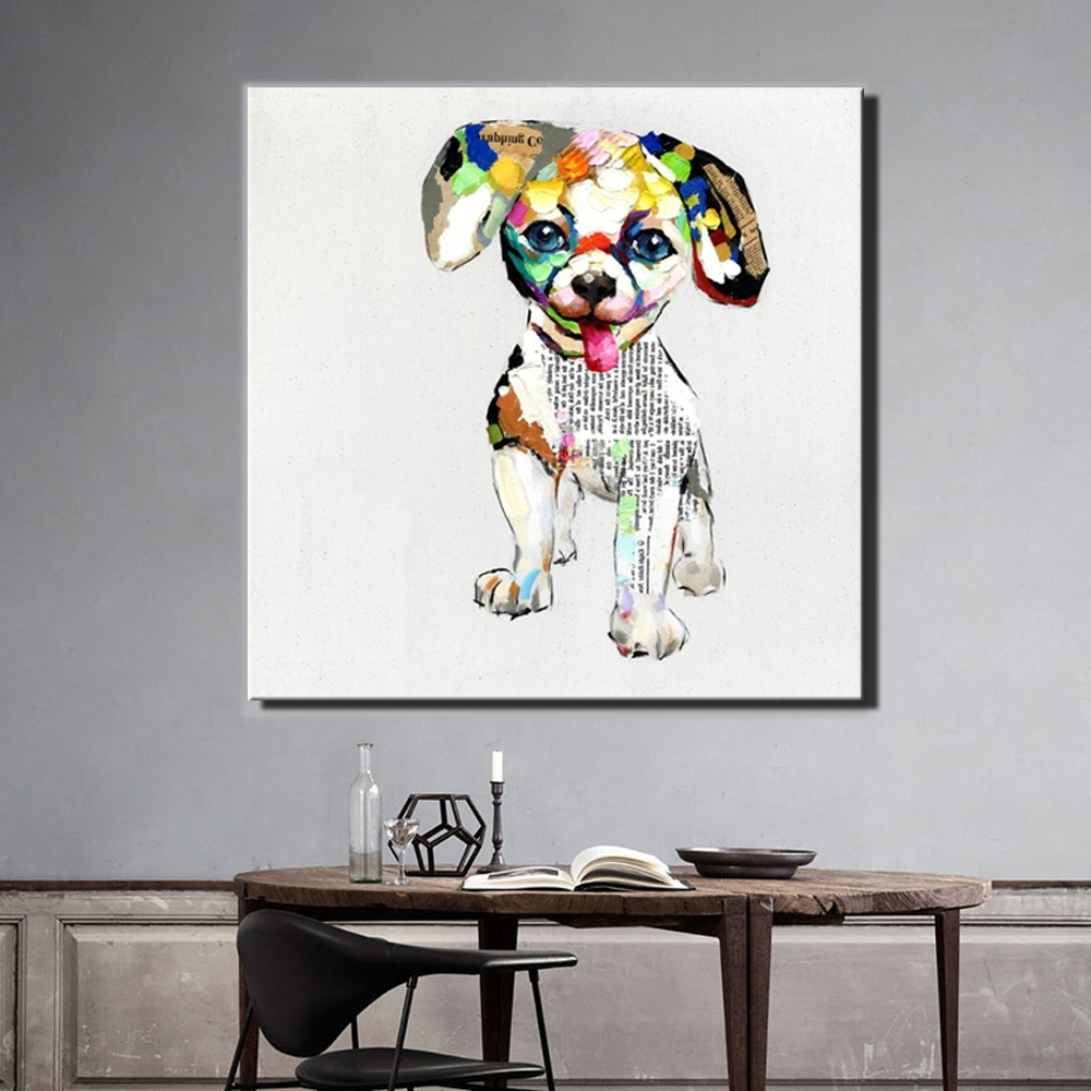 Dogs Canvas Wall Art In Well Liked Aliexpress : Buy Large Size 70X70Cm Abstract Dogs Canvas (Gallery 8 of 15)