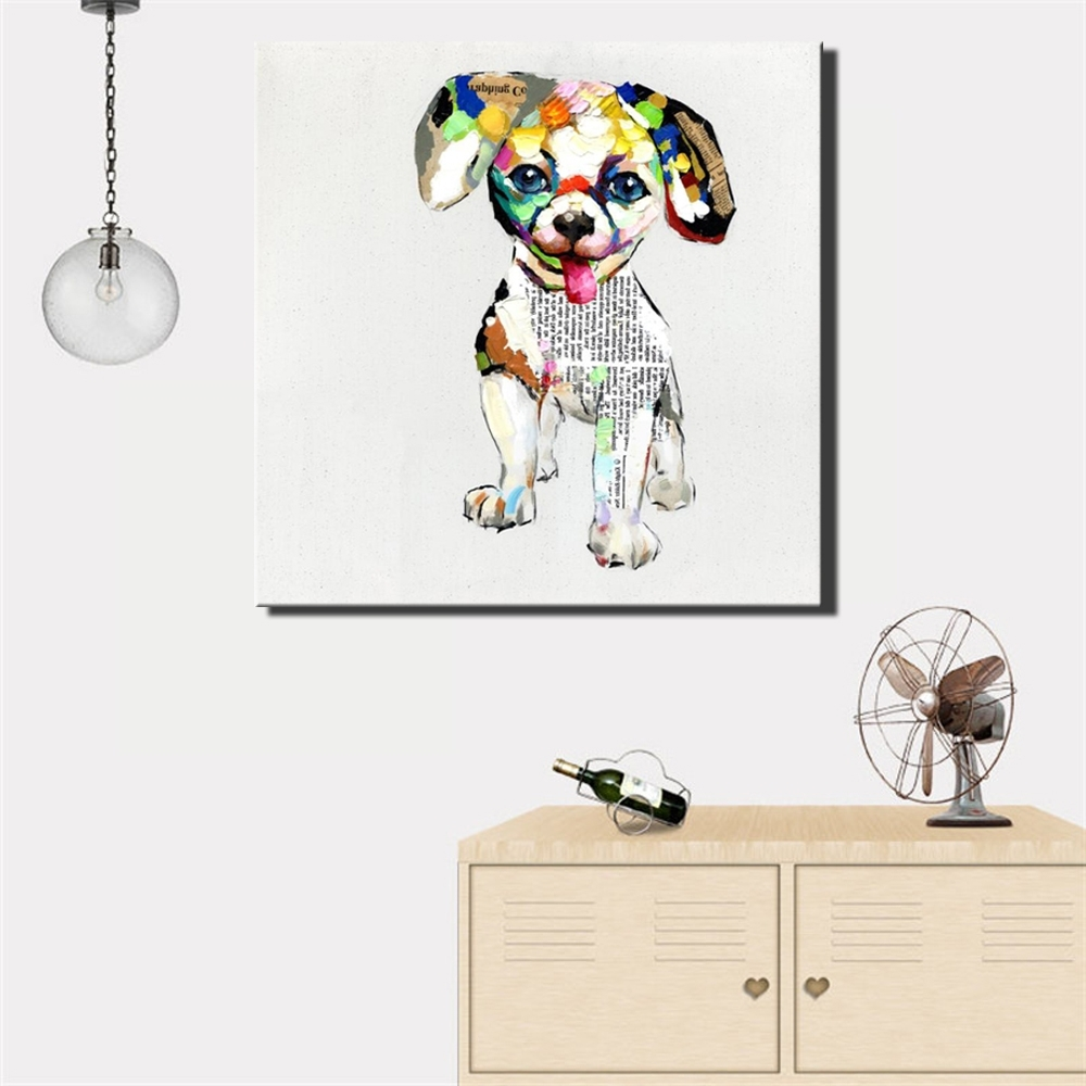 Dogs Canvas Wall Art With Most Recently Released Aliexpress : Buy Large Size 70X70Cm Abstract Dogs Canvas (View 5 of 15)