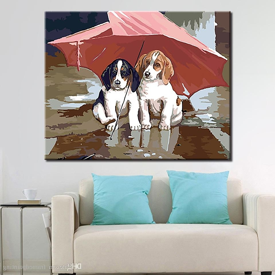 Dogs Canvas Wall Art With Well Known 2018 Diy Oil Paintingnumbers Kits Coloring Handpainted Under (Gallery 9 of 15)