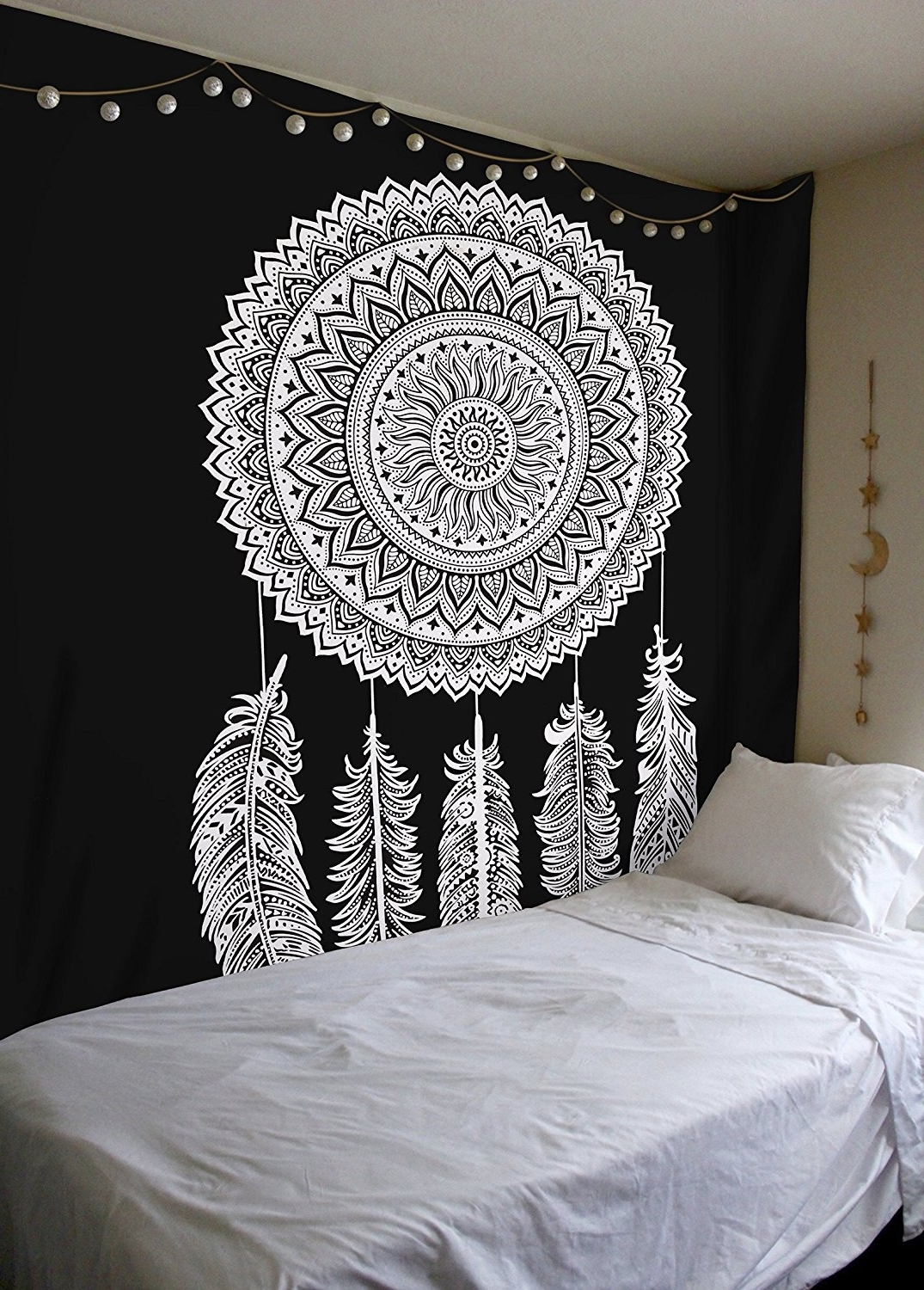 Dreamcatcher Fabric Wall Art Intended For Well Known Amazon: Black And White Tapestry, Dreamcatcher Wall Hanging (View 6 of 15)