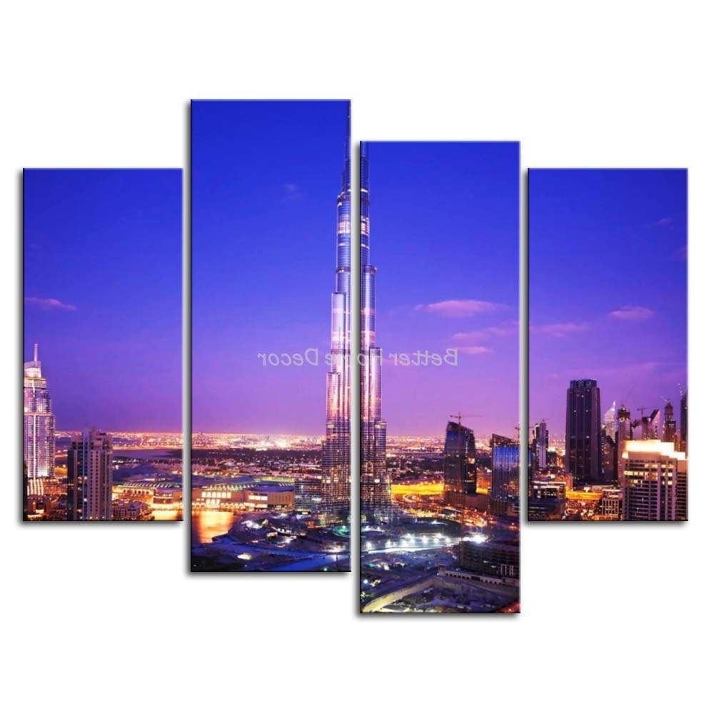 Dubai Canvas Wall Art Intended For Preferred 3 Piece Blue Wall Art Painting Burj Khalifa Dubai With Nice Night (View 11 of 15)