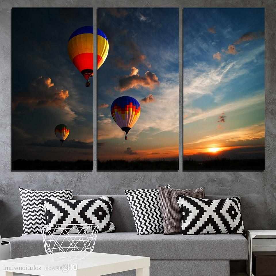 Dubai Canvas Wall Art Intended For Well Known 2018 3 Panels Canvas Art Dubai Hot Air Ballooning Home Decor Wall (View 14 of 15)