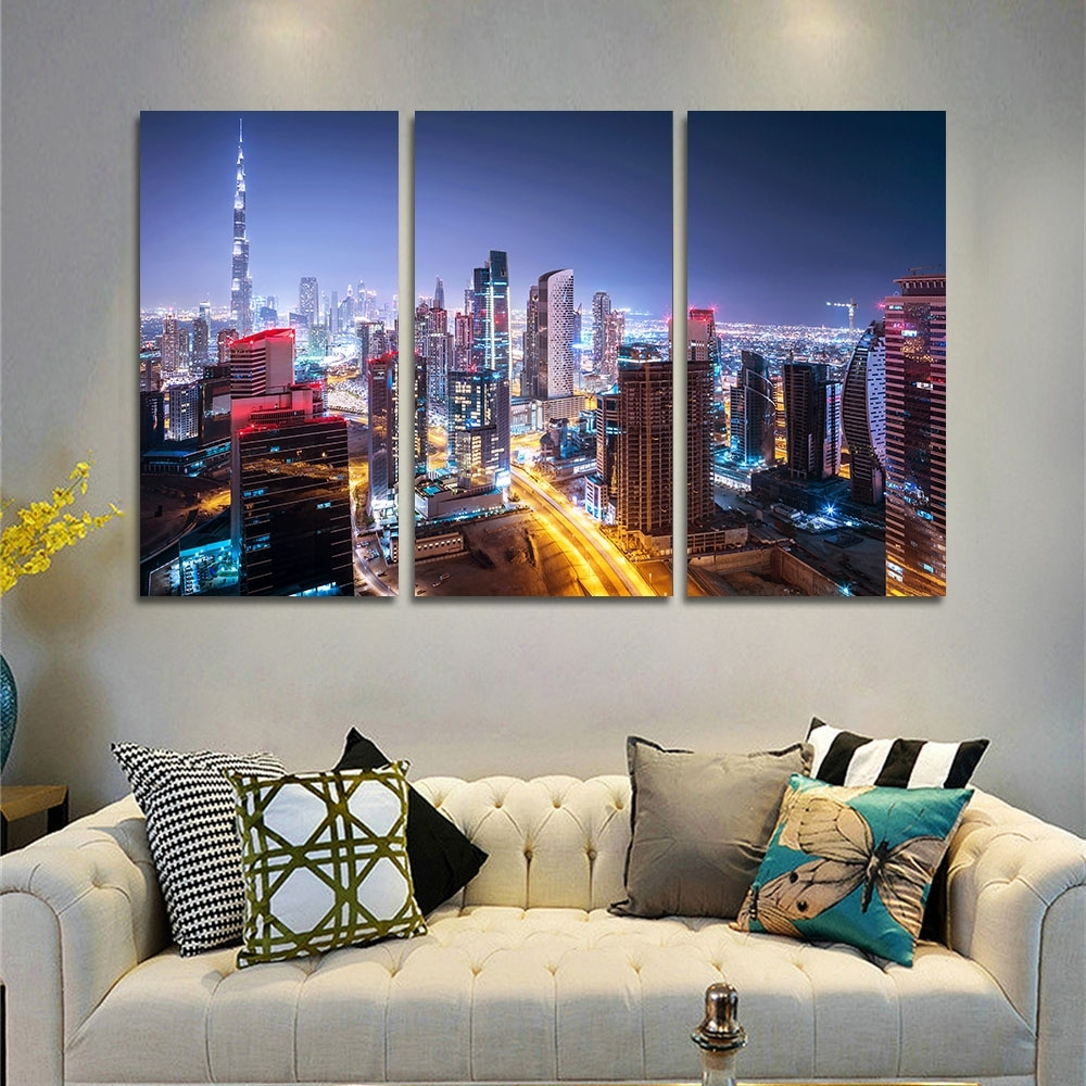 Dubai Canvas Wall Art Regarding Fashionable Canvas Wall Art Pictures Home Decor Frame 3 Pieces Dubai City (View 10 of 15)