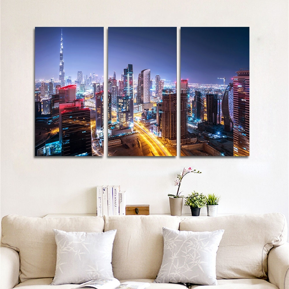 Dubai Canvas Wall Art Throughout Best And Newest Canvas Wall Art Pictures Home Decor Frame 3 Pieces Dubai City (View 4 of 15)
