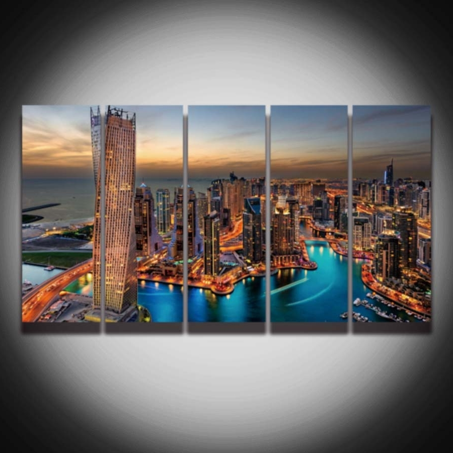 Dubai Canvas Wall Art Throughout Most Recent 5 Panel Printed City Night Scenery Dubai Picture Painting On (View 7 of 15)