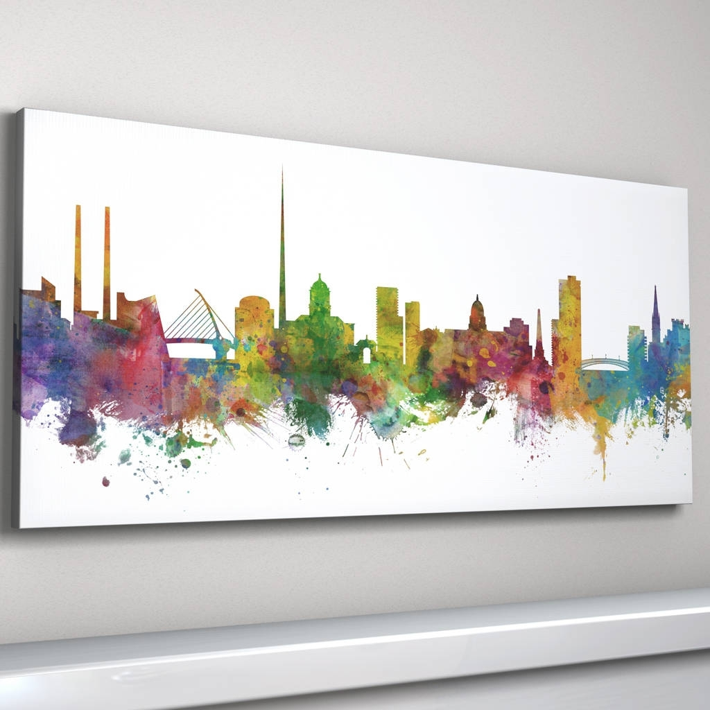 Dublin Canvas Wall Art In Fashionable Dublin Skyline Cityscape Irelandartpause (View 5 of 15)