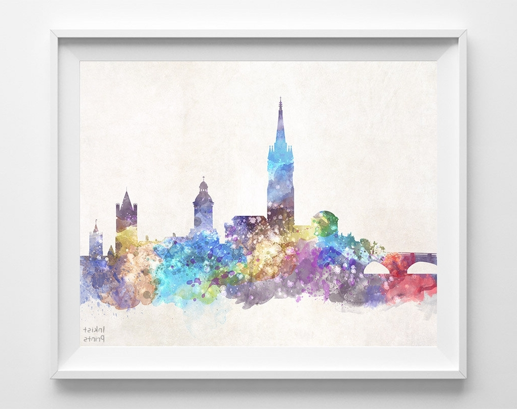 Dublin Canvas Wall Art Pertaining To Most Recently Released Dublin Skyline Print, Ireland Poster, Watercolor Painting, Giclee (Gallery 15 of 15)