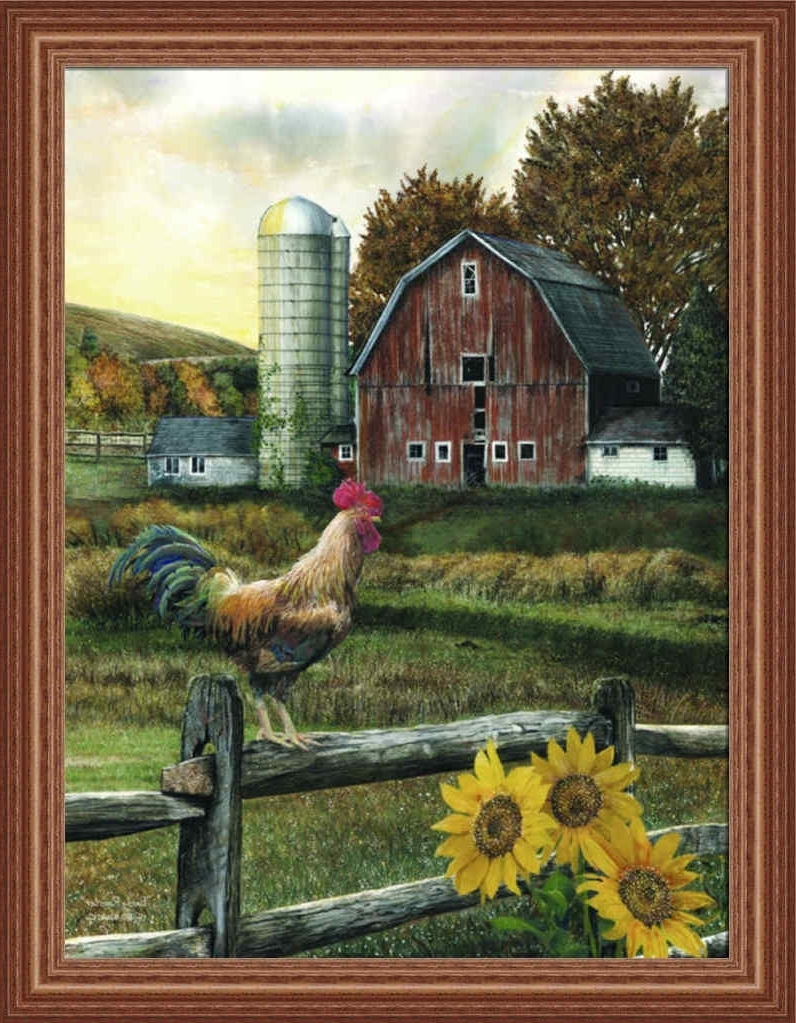 Early Roostered Wargo Country Farm Red Barn Framed Art Print Intended For Most Current Framed Country Art Prints (View 3 of 15)