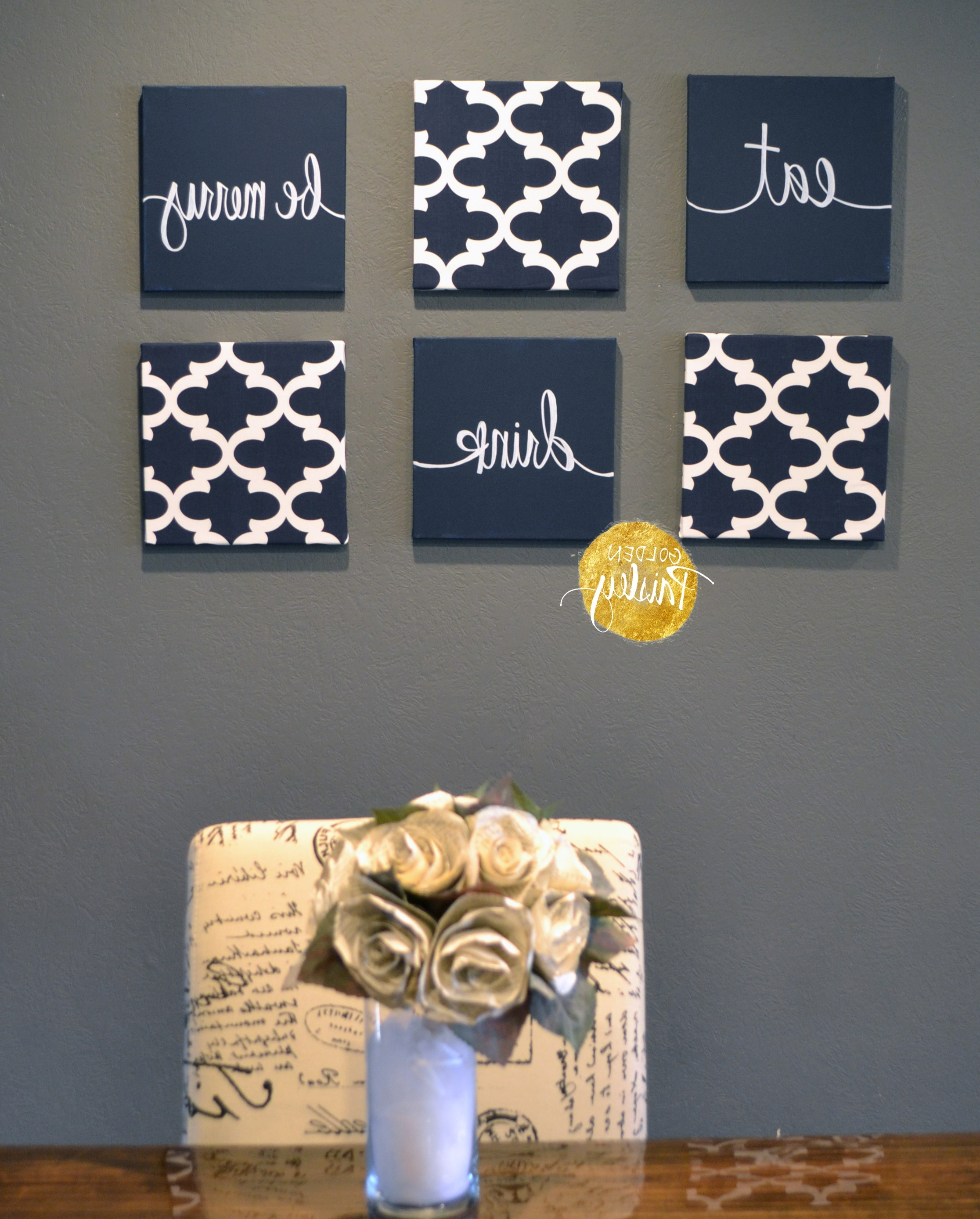 Eat Canvas Wall Art Regarding Latest Navy Blue Wall Art Set (Gallery 3 of 15)