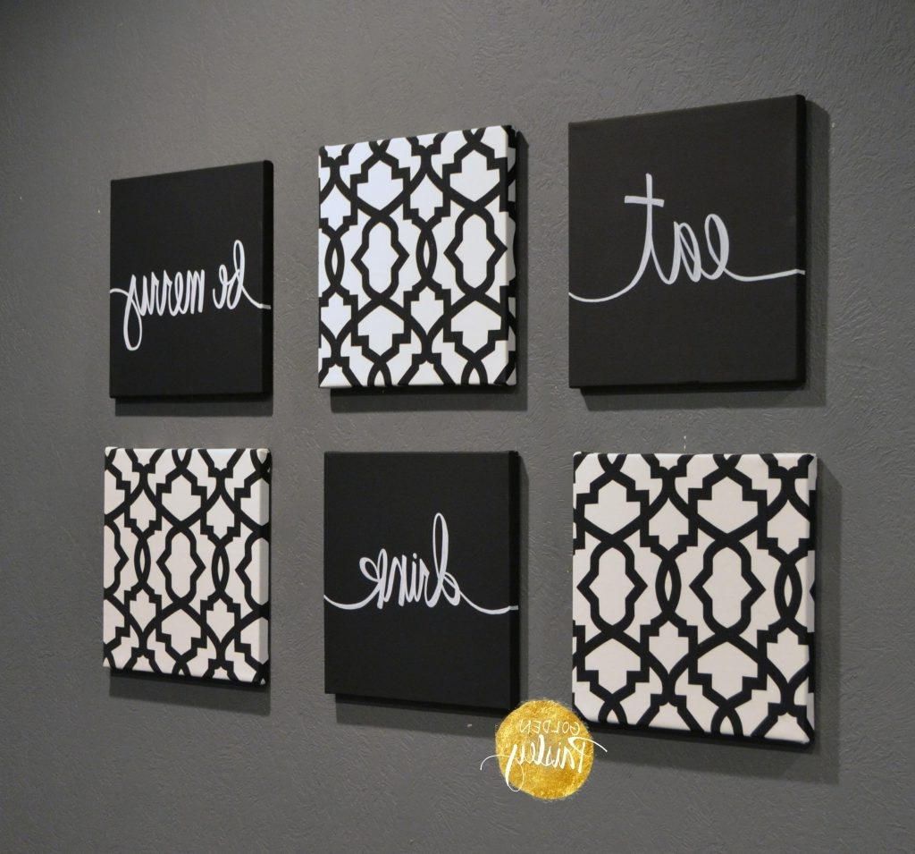 Eat Canvas Wall Art Regarding Popular Cool Inspiration Black And White Canvas Wall Art Plus Trellis  (View 7 of 15)