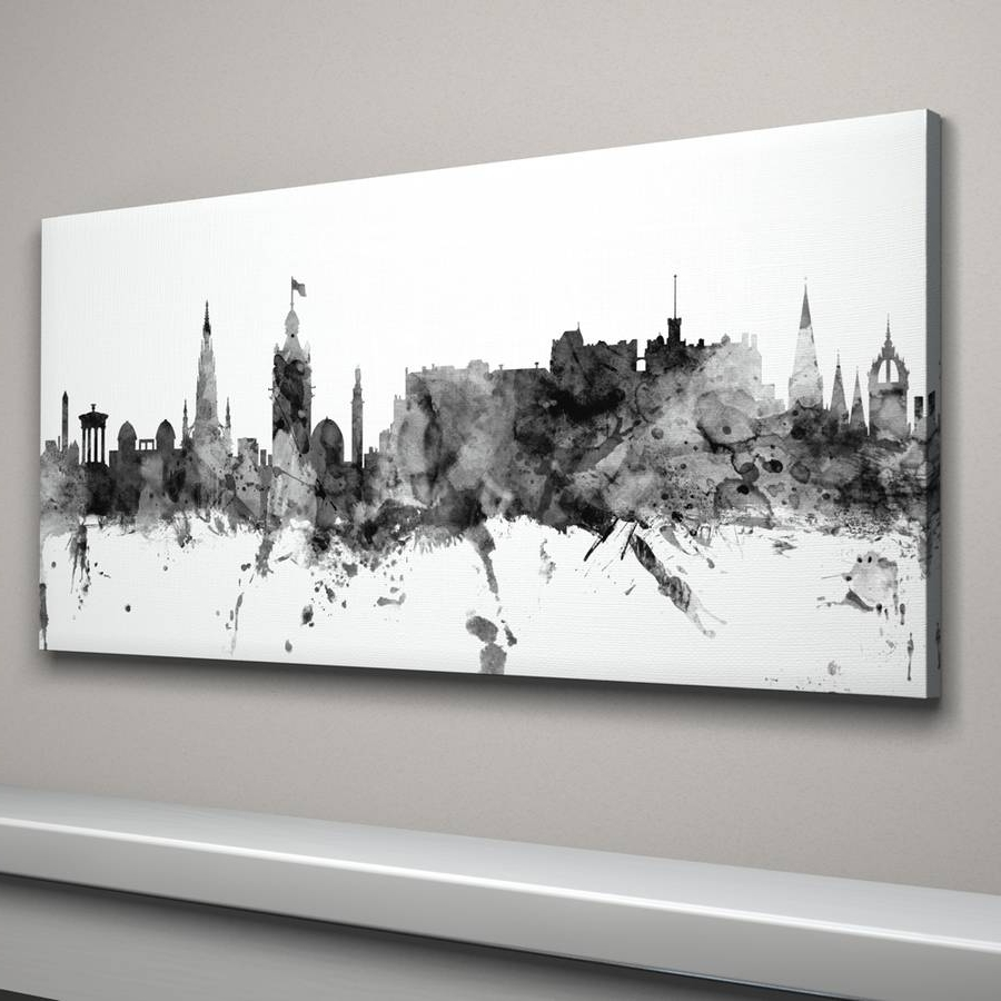 Edinburgh Canvas Prints Wall Art In Fashionable Edinburgh Skyline Cityscape Monochrome Art Printartpause (View 2 of 15)