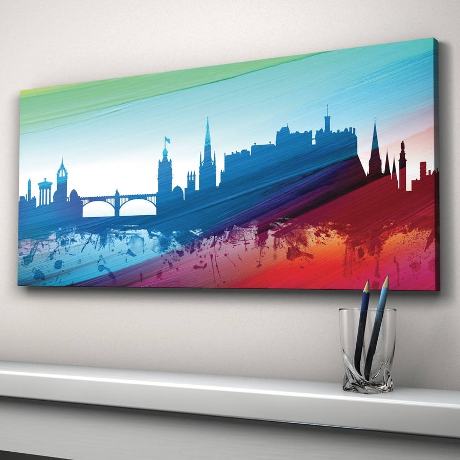 Edinburgh Canvas Prints Wall Art Inside Newest Edinburgh Skyline Cityscape Printartpause (Gallery 13 of 15)
