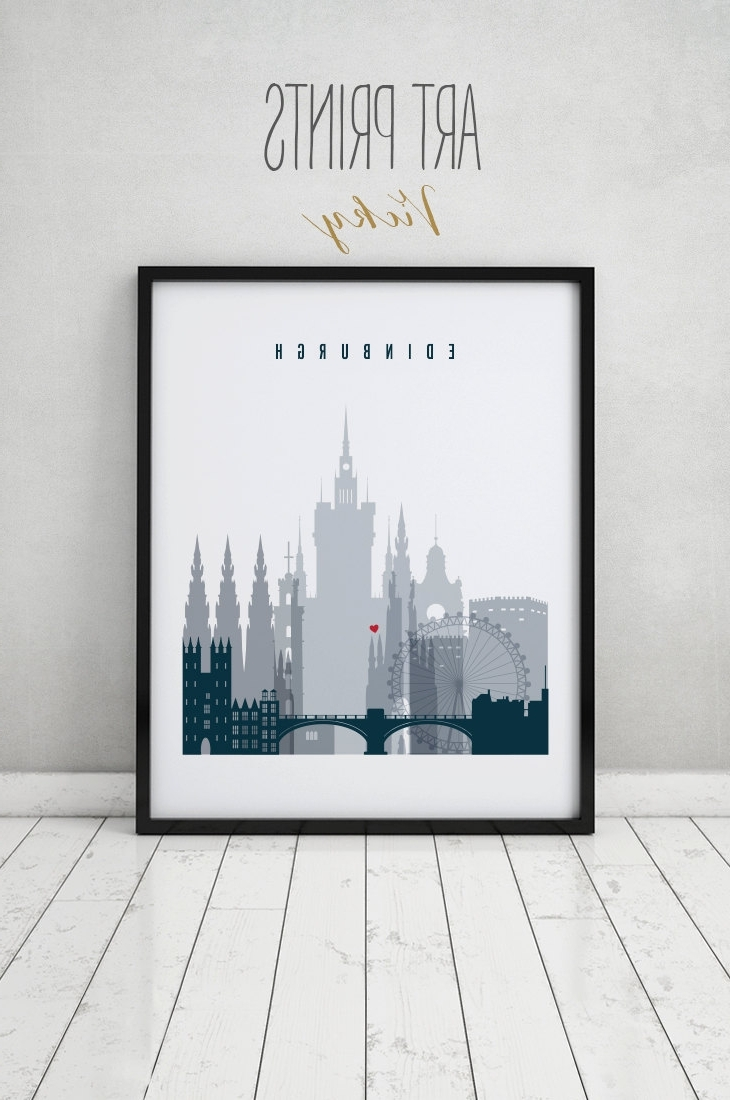 Edinburgh Canvas Prints Wall Art Regarding Most Recent Edinburgh Art Print, Poster, Wall Art, Scotland Edinburgh Skyline (View 4 of 15)