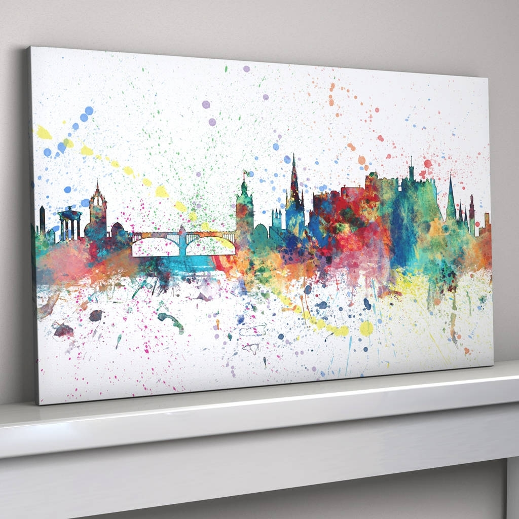 Edinburgh Skyline Cityscape Paint Splashes Printartpause Throughout Most Up To Date Edinburgh Canvas Prints Wall Art (View 6 of 15)