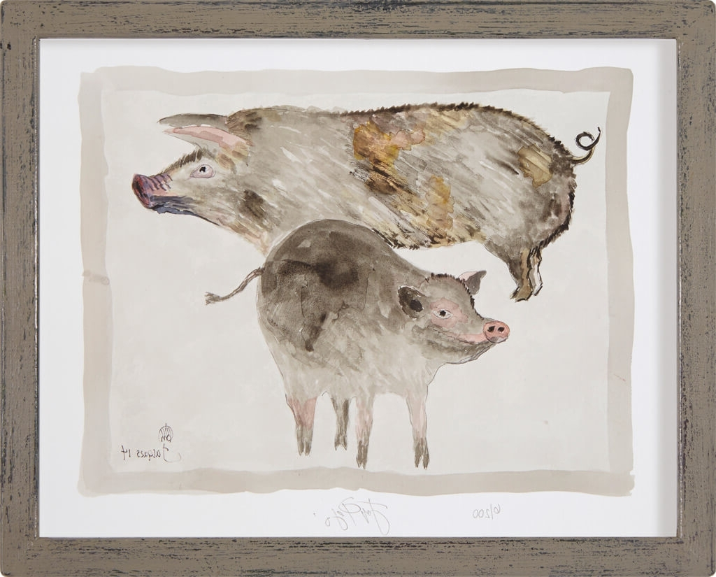 "Edition Print Of Jacques Pepin's Original Animal Art ""Pigs"" For With Regard To 2018 Framed Animal Art Prints (View 5 of 15)"