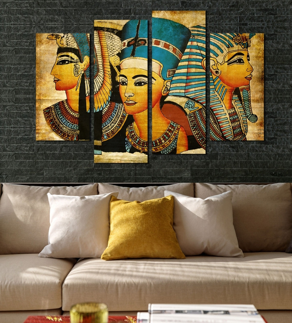 Egyptian Canvas Wall Art In Preferred Large Wall Art Canvas Pharaoh Of Egyptian Home Decoration (View 5 of 15)