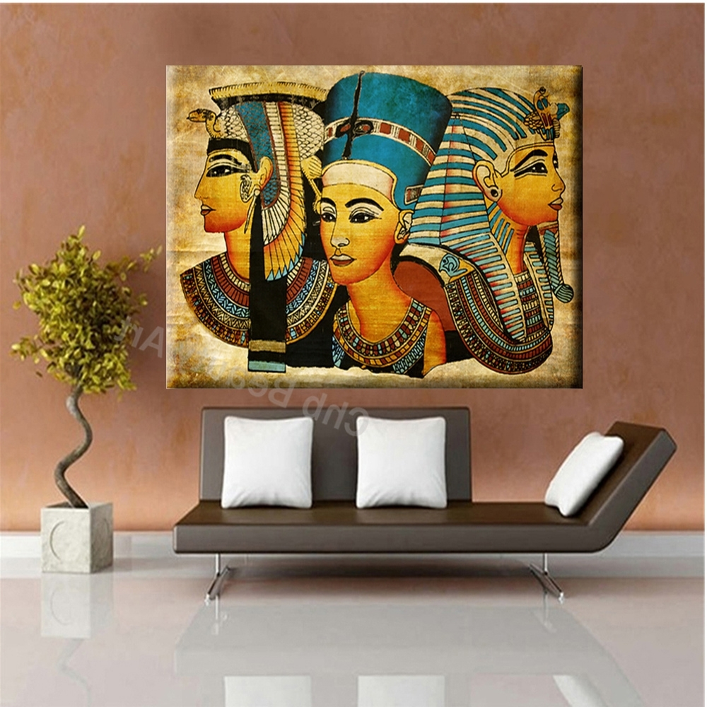 Egyptian Canvas Wall Art Regarding Fashionable 2017 Pharaoh Egypt Canvas Art Modern Abstract Oil Painting Wall (View 6 of 15)