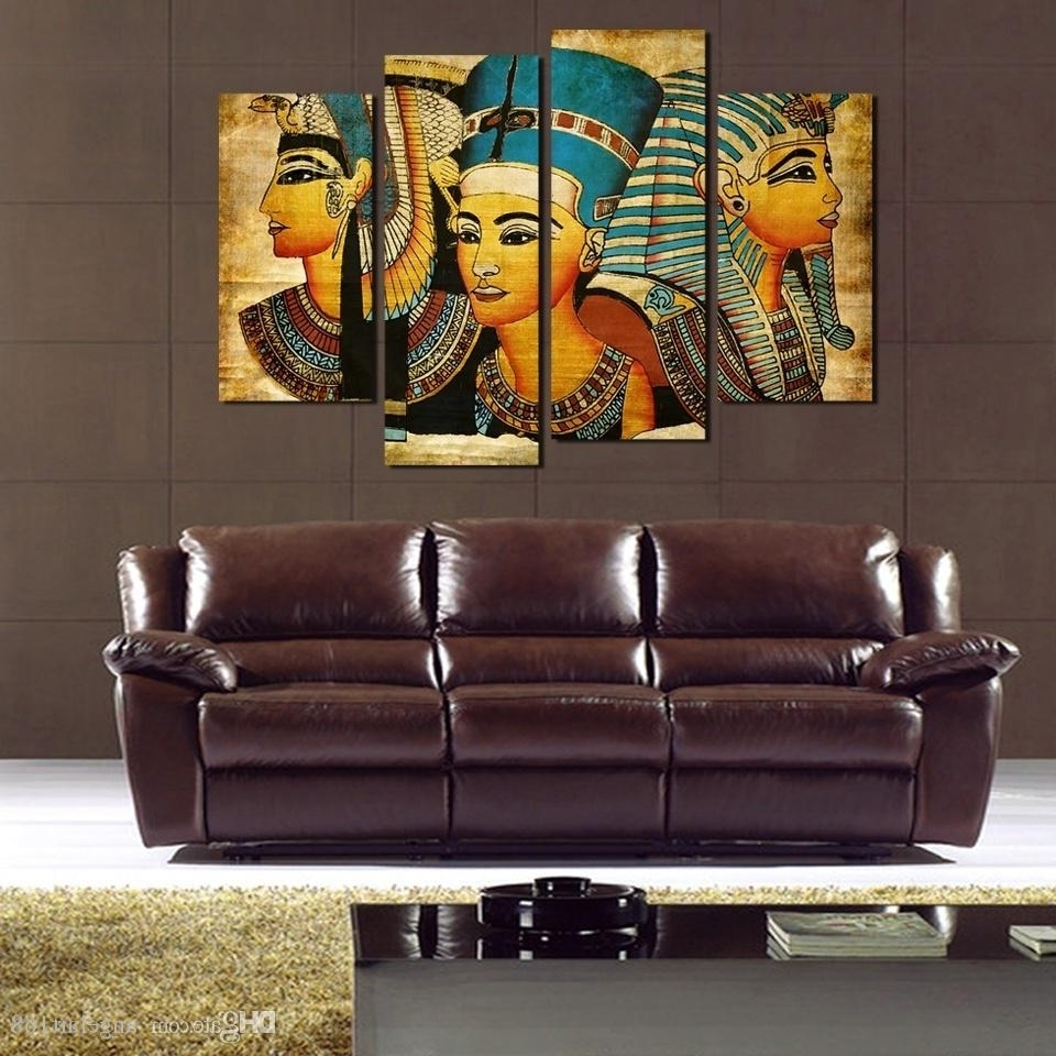 Egyptian Canvas Wall Art Throughout Most Popular 2018 Egyptian Pharaoh No Frame Wall Art Oil Painting On Canvas (View 7 of 15)