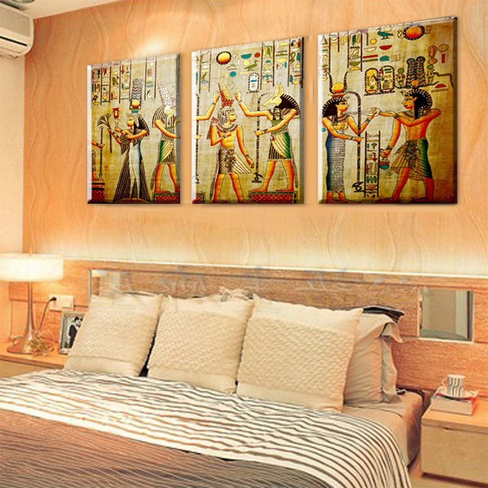 Egyptian Canvas Wall Art With Well Known 3 Panel Pharaoh Egyptian Decor Modern Abstract Canvas Painting Art (View 8 of 15)