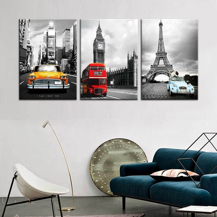 Eiffel Tower In New York Modular Photo 3 Wall Panels Canvas Prints Inside Favorite Eiffel Tower Canvas Wall Art (View 5 of 15)